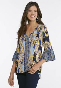 Royal Paisley Poet Top