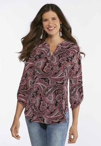 Plus Size Paisley Popover Top