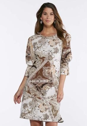 Plus Size Neutral Paisley Bell Sleeve Dress