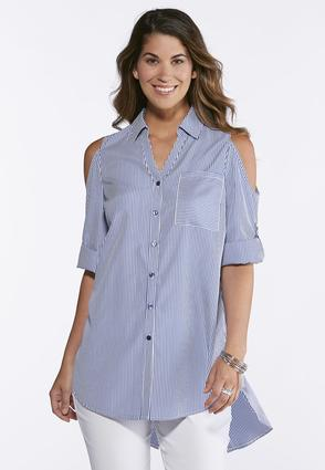 Cold Shoulder Striped Poplin Shirt