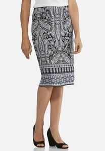 Plus Size Paisley Ponte Pencil Skirt