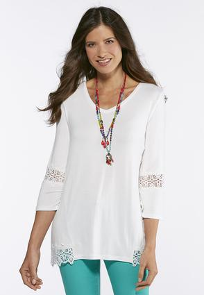 Lace Trim High- Low Tunic