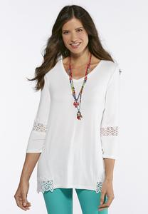 Lace Trim High-Low Tunic