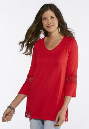 Plus Size Lace Trim High- Low Tunic