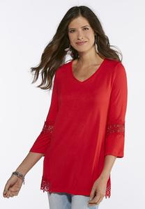 Plus Size Lace Trim High-Low Tunic
