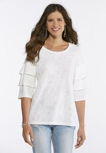 Floral Jacquard Tiered Sleeve Top