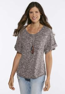 Marled Rolled Cuff Top
