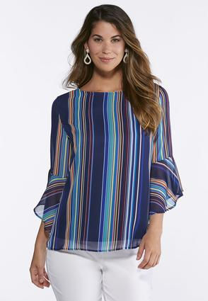 Vibrant Stripe Bell Sleeve Top