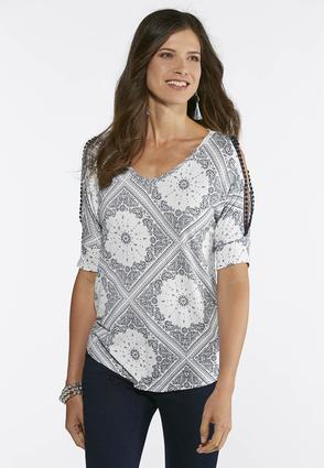 Patchwork Paisley Cold Shoulder Top at Cato in Brooklyn, NY | Tuggl