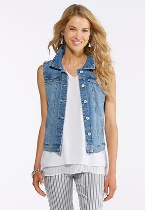 Plus Size Light Wash Denim Vest | Tuggl