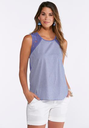 Striped Crochet Trim Tank at Cato in Brooklyn, NY | Tuggl