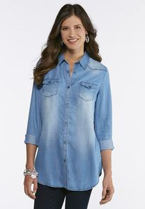 Plus Size Chambray Button Down Shirt