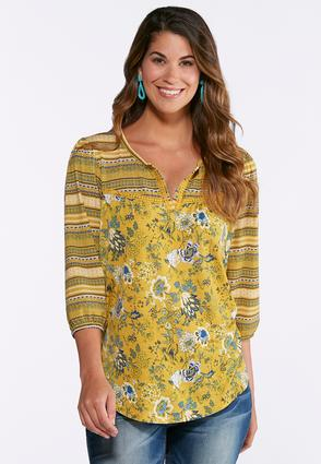 Gold Aztec Floral Print Top | Tuggl