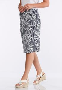 Striped Vine Floral Puff Print Skirt