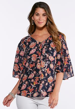 Fan Floral Flutter Sleeve Top