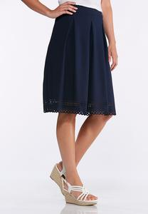 Navy Laser Cut Skirt