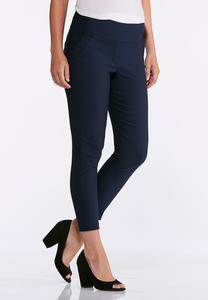 Navy Stretch Ankle Pants