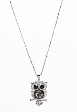 Glass Rhinestone Owl Necklace
