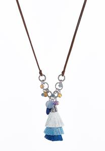 Dangling Bead Tassel Necklace