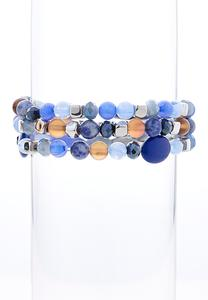 Navy Bead Stretch Bracelet Set