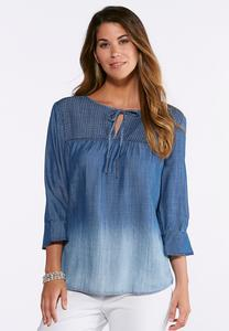 Plus Size Chambray Pintuck Poet Top