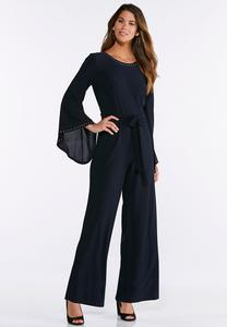 Embellished Flare Sleeve Jumpsuit