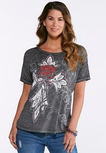 Plus Size Embellished Rose Cross Tee