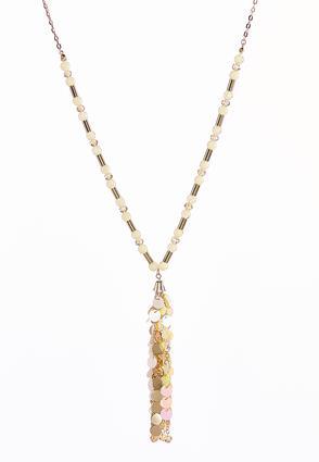 Sequin Beaded Tassel Necklace | Tuggl