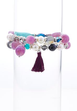 Tasseled Bead Stretch Bracelet Set | Tuggl