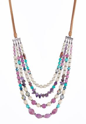 Layered Faux Suede Necklace | Tuggl