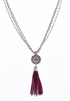 Beaded Faux Suede Tassel Necklace | Tuggl