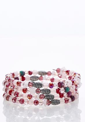 Wine Rondelle Coil Bracelet | Tuggl