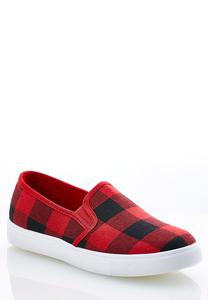 Buffalo Plaid Slip-On Sneakers