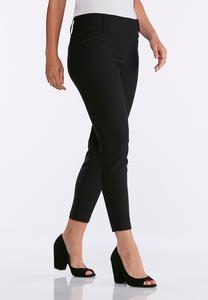 Black Pull-On Ankle Pants