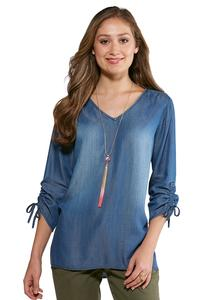 Chambray Ruched Sleeve Top
