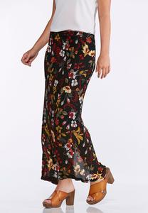 Floral Stretch Knit Maxi Skirt