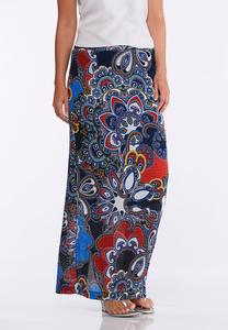 Plus Size Textured Medallion Maxi Skirt