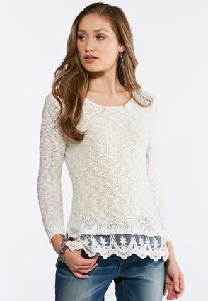 Lace Trim Pullover Sweater