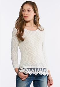 Plus Size Lace Trim Pullover Sweater