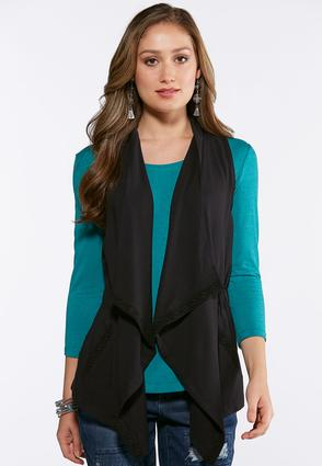 Lace Trim Waterfall Vest