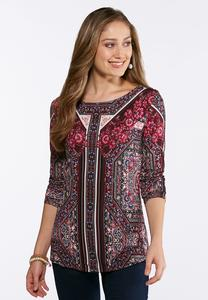 Plus Size Floral Medallion Top