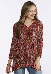 Plus Size Autumn Tapestry Sharkbite Top