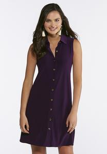 Plus Size Solid Purple Shirt Dress