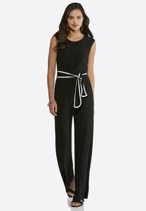 Black And White Belted Jumpsuit