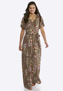 Plus Size Gauze Floral Maxi Dress