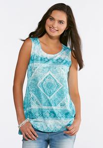 Embellished Burnout Medallion Top