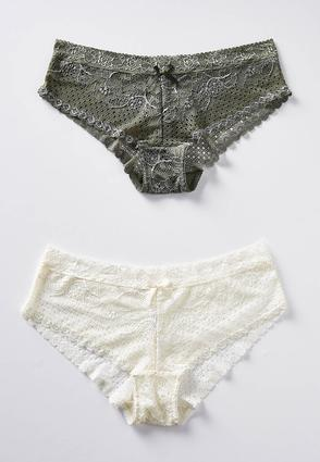 Plus Size Olive And Ivory Lace Panty Set | Tuggl