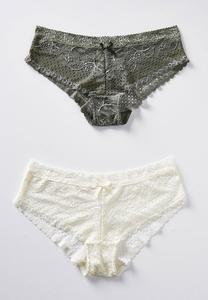 Plus Size Olive And Ivory Lace Panty Set