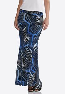 Plus Size Puzzle Chevron Maxi Skirt