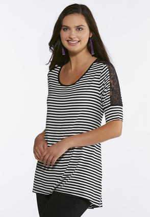 Plus Size Striped Lace Inset Sleeve Top